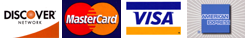 We accept Discover, MasterCard, Visa and American Express